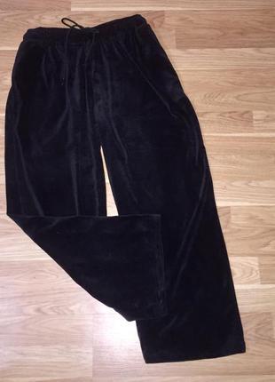 Чёрные бархатные велюровые штаны брюки  с высокой посадкой  гирокие