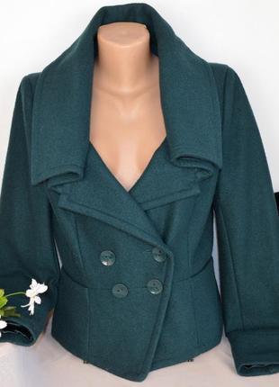 Брендовое демисезонное пальто полупальто жакет с карманами topshop шерсть этикетка