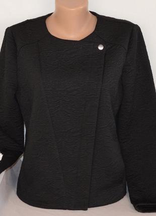 Брендовая черная легкая фактурная куртка пиджак косуха на молнии с карманами atmosphere