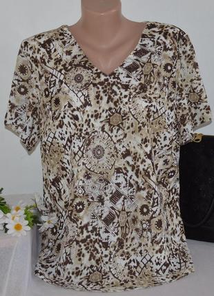 Брендовая шифоновая блуза bonmarche румыния принт абстракция большой размер этикетка