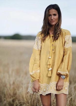 Оригинальное платье-туника с вышивкой этно вышитое хлопок пышный рукав