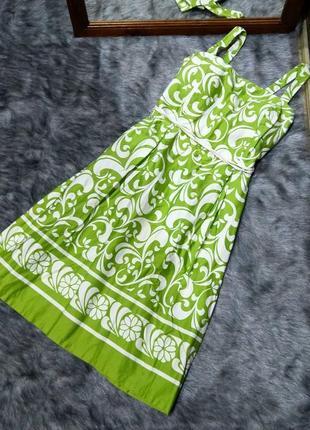Платье с отрезной талией и пышной юбкой из коттона