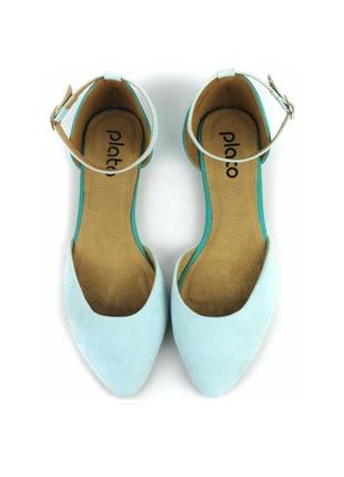 Красивые бирюзовые сандалии - балетки с закрытым носочком 38-го 39-го размеров.
