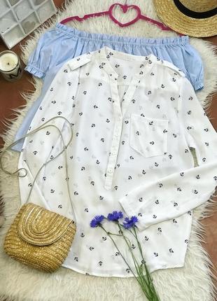 Белая блузка принт якори ⚓️