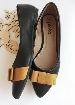 Черные балетки лодочки от plato 38-го 39-го размера ( 24,5 см. по стельке ). распродажа.3 фото