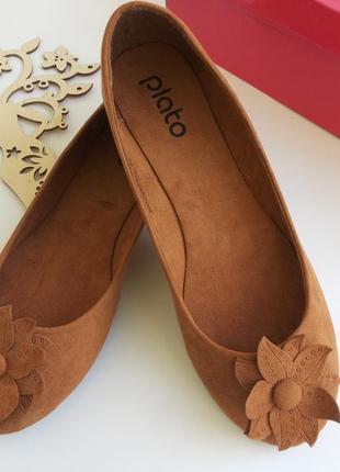 Текстильные коричневые балетки 39 размера, полномерные. распродажа !