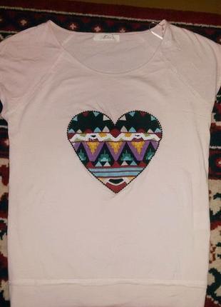 Брендовая футболка хлопок, вышивка бисером - miho`s italy m-l