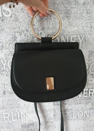 Mango чёрная сумка с кольцом