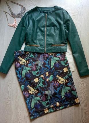 Зеленая короткая куртка кожаный пиджак изумрудная золотой без воротника кожанка