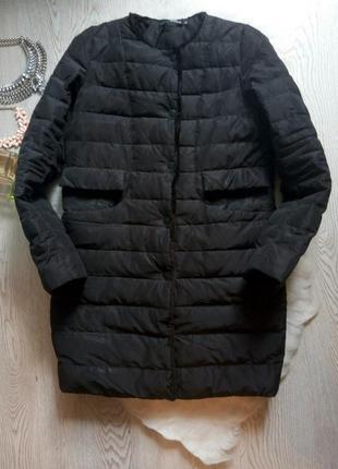 Черная длинная куртка натуральный пуховик без воротника с мехом деми зимняя пальто