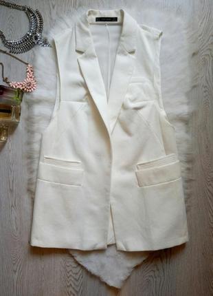 Белый льняной кардиган длинный жакет жилетка с воротником сетка спинка карманы бренд