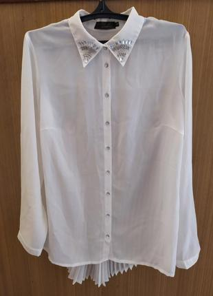 Германия.нарядная белая шифоновая блуза с плиссе по спинке.батал