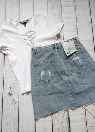 Плотная джинсовая юбка высокая посадка спідниця джинсова