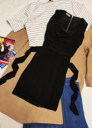 Wal g платье чёрное с поясом шифоновое на молнии