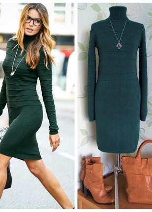 Платье вязаное трикотажное платье-гольф темно-зеленое футляр
