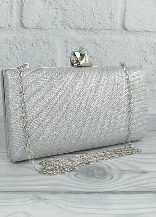 Вечерний клатч rose heart 21570 серебристый, сумочка на цепочке