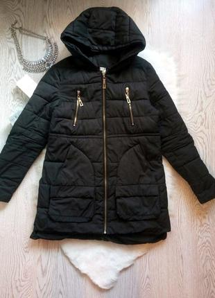 Черная деми куртка пуховик накладными карманами пальто теплое короткая длинная зимняя