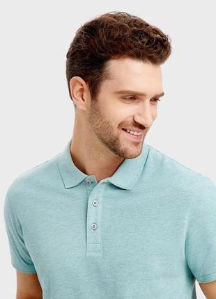 Мужская футболка поло ostin с воротником ментол
