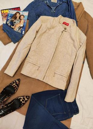 Alain manoukian пиджак жакет бежевый классический на подкладке