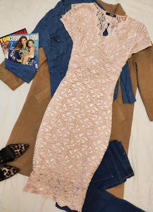 Quiz платье миди футляр гипюр на подкладке розовое с блестками эластичное вечернее
