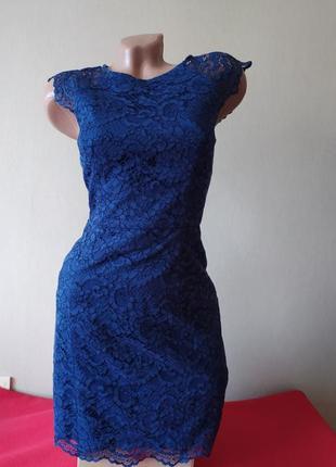 Темно синее вечернее выпускное платье