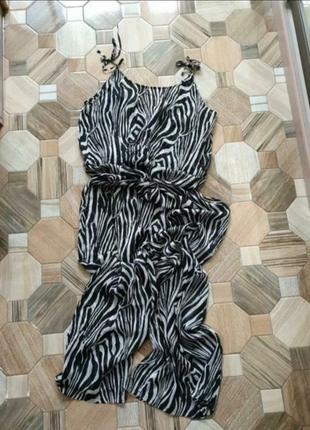 Шикарный пляжный брючный ромпер в animal print ♥ h&m 38/402 фото