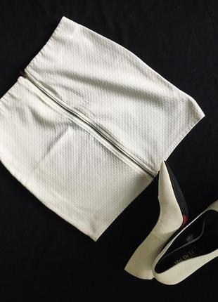 Белая юбка bershka с молнией / біла спідниця