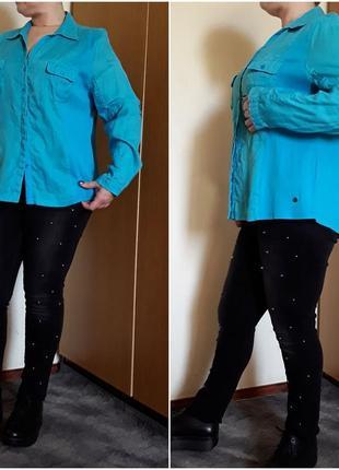 Льняная рубашка цвета тиффани