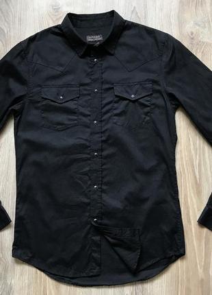 Мужская черная рубашка с длинным рукавом zara s6 фото