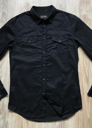 Мужская черная рубашка с длинным рукавом zara s