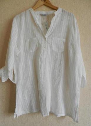 Новая с ценником натуральная блуза рубашка большой размер