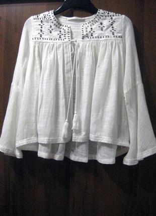Пончо накидка блузка белая вышивка бисер рукав клёш вышиванка италия шерсть коттон