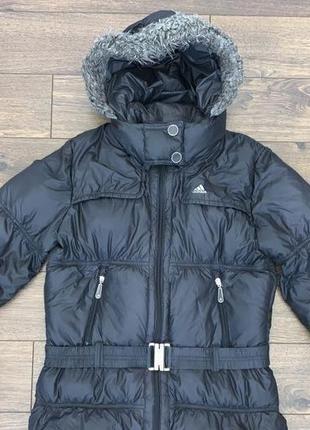 Черная куртка пуховик под пояс adidas s-m 10-38