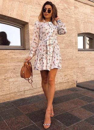 Платье сарафан с поясом натуральное