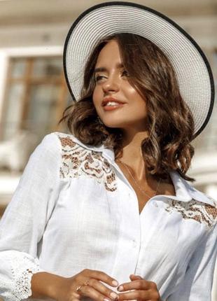 Красивенькая белая льняная блузка рубашка, рубаха натуральный шёлк с кружевом