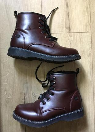 Кож зам бардовые ботинки докерсы,демисезонные сапоги сапожки на осень