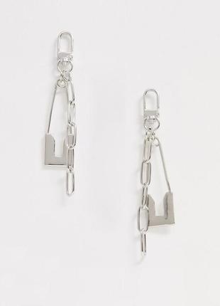 """🤘⛓ серьги-гвоздики с длинными подвесками """"цепочки и булавки"""" в стиле рок от asos"""