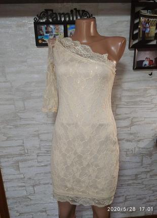 Шикарное,кружевное платье на одно плечо!!!