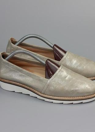 Кожаные туфли мокасины в стиле clarks geox ecco