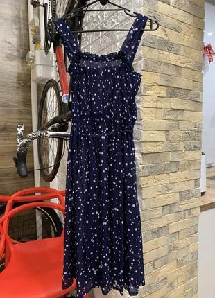Платье сарафан  длинны миди  тёмно-синее белый горох на бретелях