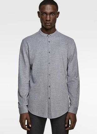 Zara man серая трикотажная мужская рубашка