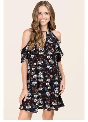 Чёрное платье в цветы francesca's