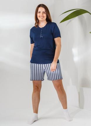 Комплект женский батал футболка с шортами