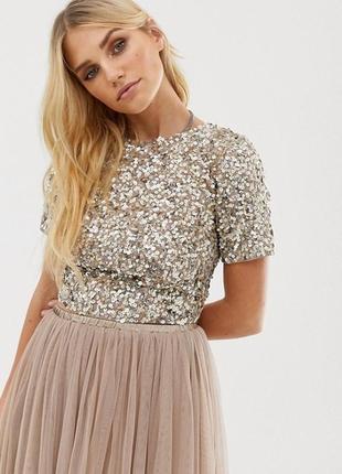 Стильный топ, блуза в паетки бренда lace&beaded (2519)