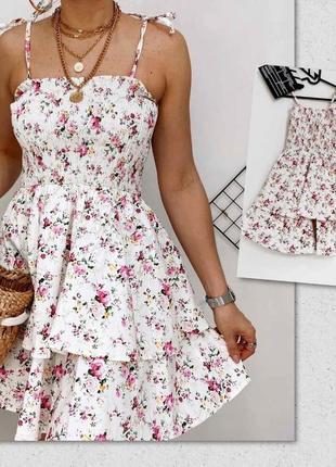 Платье сарафан коттон супер котон качество принт цветы хит