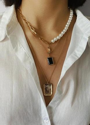 Бусы цепочка ожерелье  подвеска цепь на шею многослойное жемчуг кулон кулончик золото