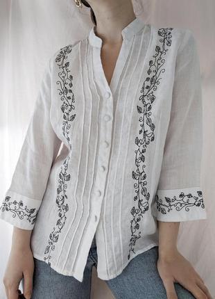 Белая винтажная блуза блузка рубашка льняная льняна 100% лён с вышивкой
