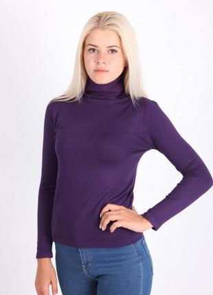 Базовый гольф водолазка свитер лонгслив фирменный 95% хлопковый фиолетовый anni rolfi р.40