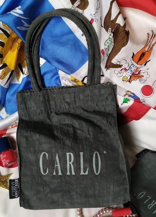 Милая маленькая винтажная тканевая сумка шоппер с кошельком carlo, жатка, болотный хаки