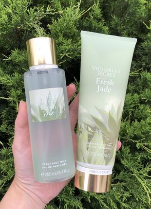 Victoria's secret fresh jade набор мист и лосьон (крем и спрей парфюмированный)